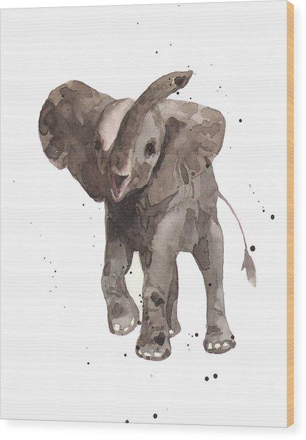 The Greeter Elephant Wood Print