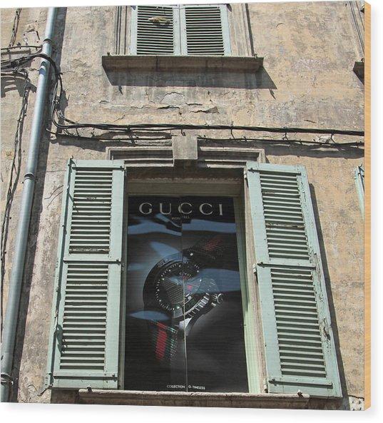 The Gucci Window Wood Print