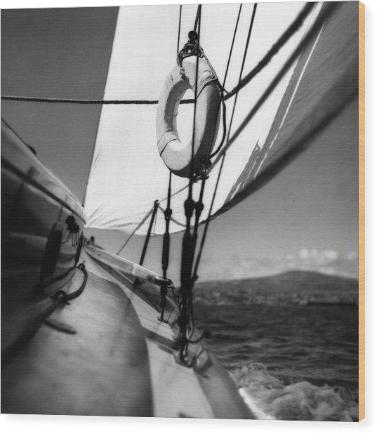 The Gunwale Of A Sailboat Wood Print