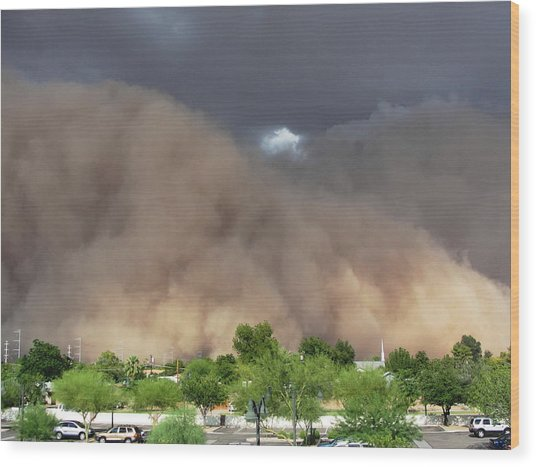 The Haboob Is Coming Wood Print