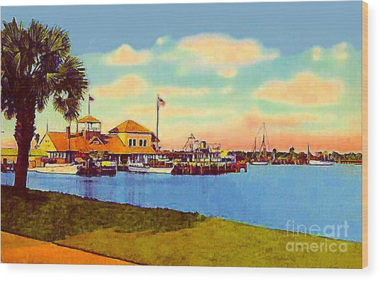 The Halifax River Yacht Club In Daytona Beach Fl In 1920 Wood Print