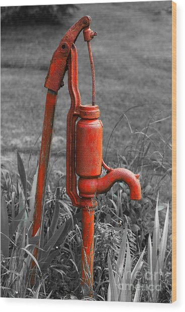 The Hand Pump Wood Print