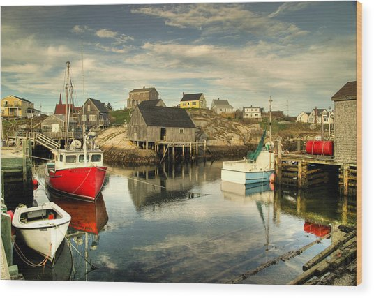 The Harbour At Peggys Cove Wood Print