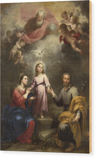 Wood Print featuring the painting The Heavenly And Earthly Trinities by Bartolome Esteban Murillo