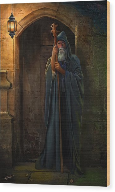 Wood Print featuring the digital art The Hermit by Bob Nolin