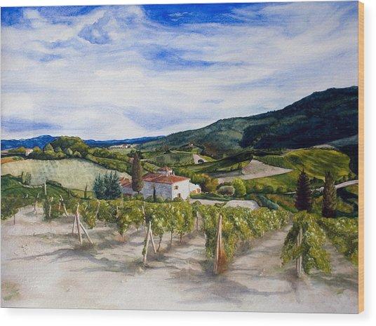 The Hills Of Tuscany Wood Print by Monika Degan