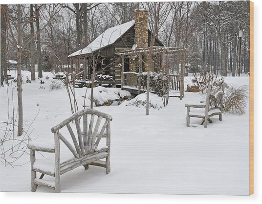 The Historic Gosnell Log Cabin After A Snowfall  Mauldin Sc Wood Print