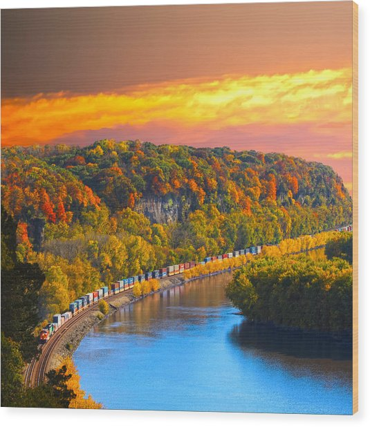 The Hobo Train Up The Mississippi Wood Print