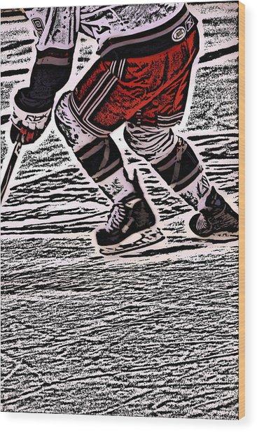 The Hockey Player Wood Print