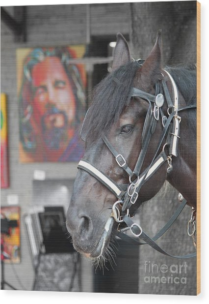 The Horse Abides Wood Print