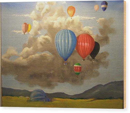 The Hot Air Balloon Wood Print
