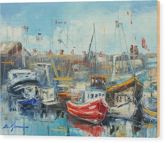 The Howth Harbour Wood Print