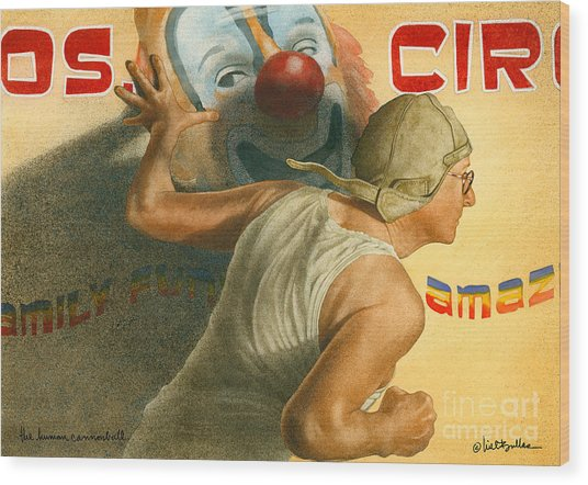 The Human Cannonball... Wood Print by Will Bullas