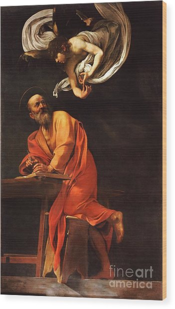 The Inspiration Of Saint Matthew Wood Print