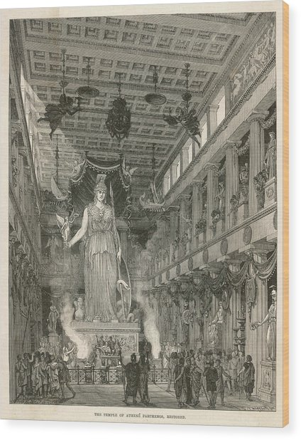 The Interior Of The Parthenon,  Or Wood Print by Mary Evans Picture Library
