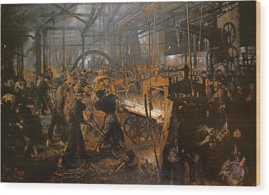 The Iron-rolling Mill Oil On Canvas, 1875 Wood Print