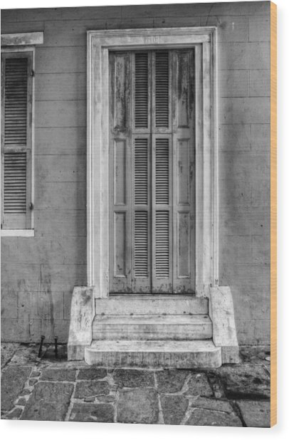 The Jackson House Door In Black And White Wood Print