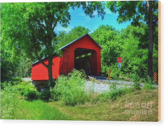 The James Covered Bridge Wood Print by Mel Steinhauer