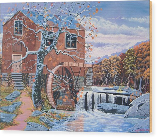 The Jamestown Mill Wood Print by Seth Wade