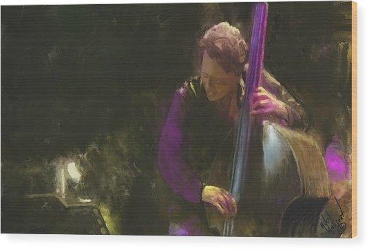 The Jazz Bassist Wood Print