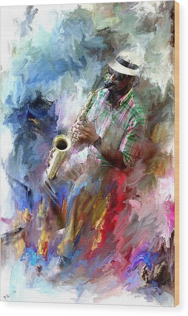 The Jazz Player Wood Print