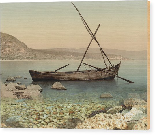 The Jesus Boat At The Sea Of Galilee  Wood Print