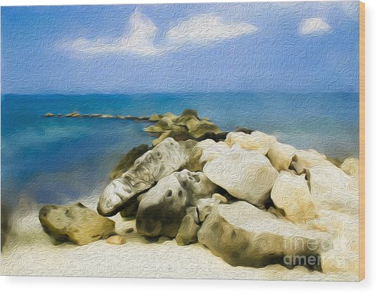 The Jetty At Seven Mile Beach In Grand Cayman Wood Print