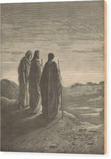 The Journey To Emmaus Wood Print by Antique Engravings