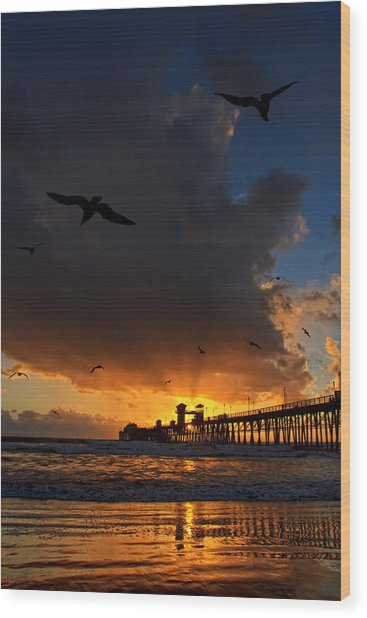 The Jutting Pier At Sundown  Wood Print by Donna Pagakis
