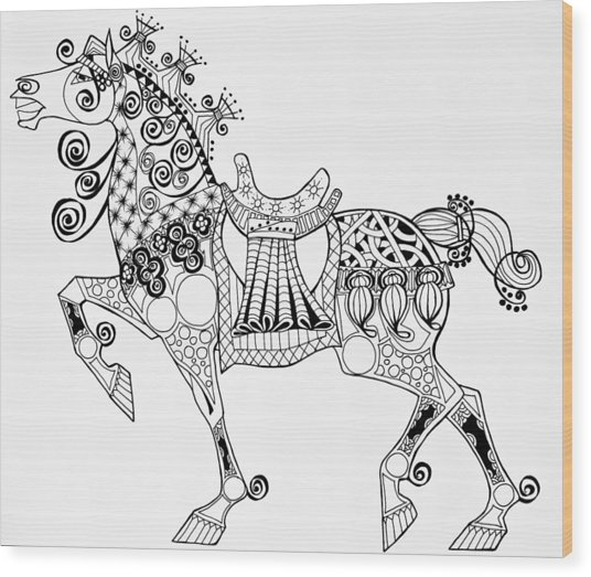 The King's Horse - Zentangle Wood Print