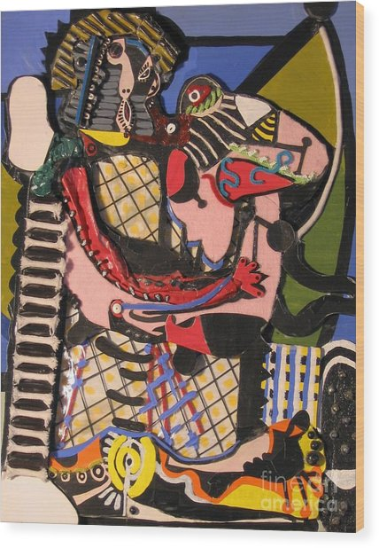 The Kiss Aka The Embrace After Picasso 1925 Wood Print