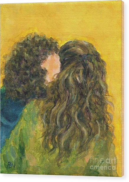 The Kiss Of Two Curly Haired Lovers Wood Print