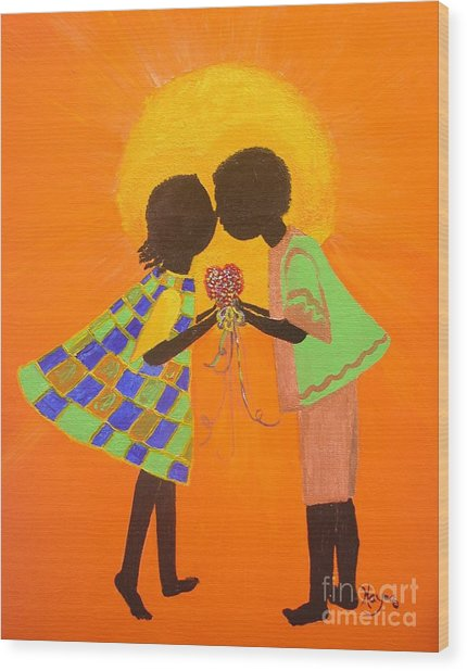 The Kiss - Young Love Series Wood Print