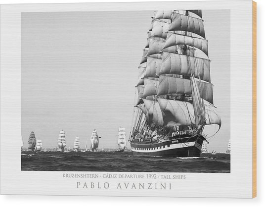 The Kruzenshtern Departing The Port Of Cadiz Wood Print
