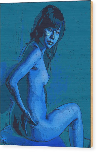 The Lady In Blue Wood Print