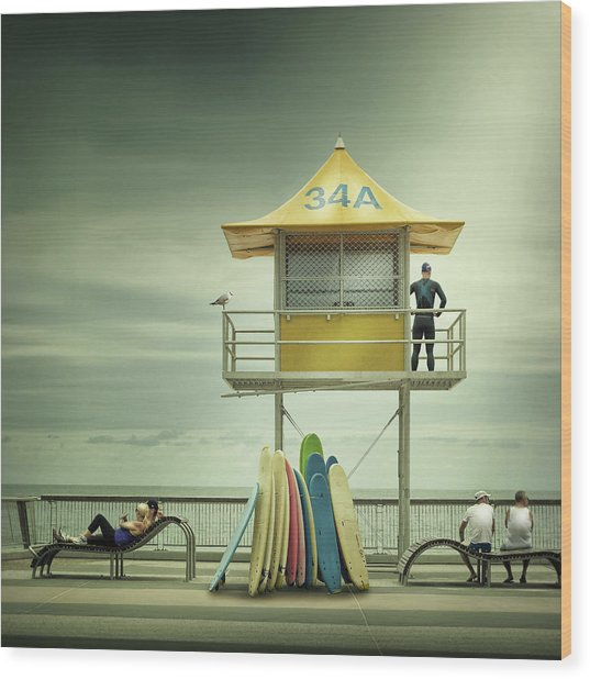 The Life Guard Wood Print by Adrian Donoghue