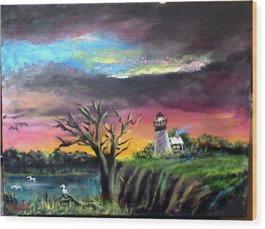 The Light House-3 Wood Print by M bhatt