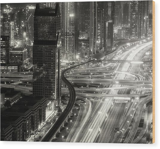 The Light River Of Dubai Wood Print by Ahmed Thabet