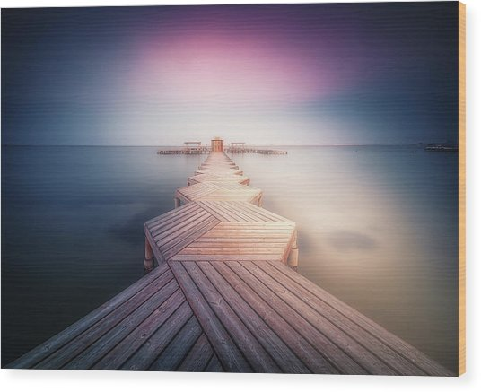 The Lighted Pier. Wood Print