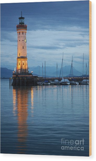 The Lighthouse Of Lindau By Night Wood Print