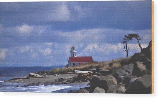 The Lighthouse With The Red Roof. Wood Print