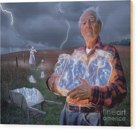 The Lightning Catchers Wood Print