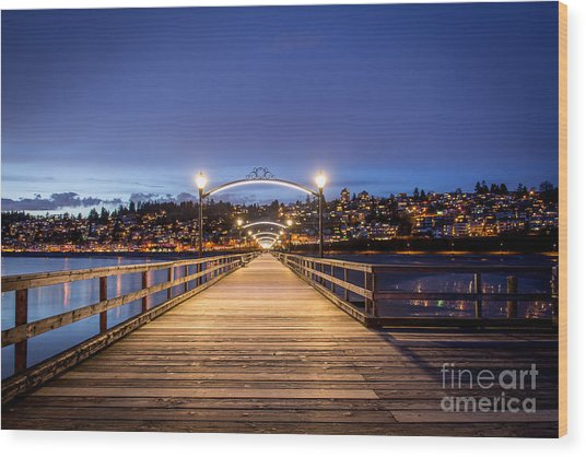 The Lights Of White Rock Beach - By Sabine Edrissi Wood Print