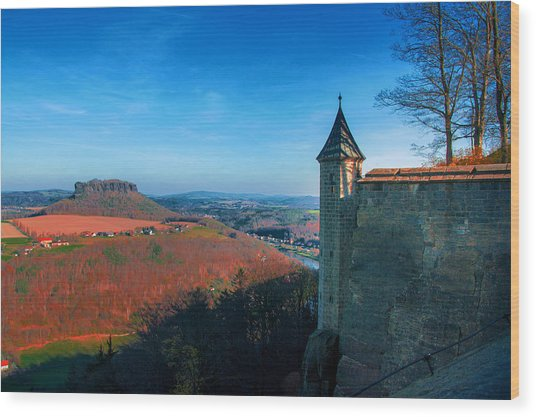 The Lilienstein Behind The Fortress Koenigstein Wood Print