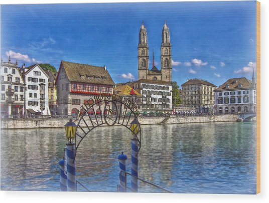 The Limmat City Wood Print