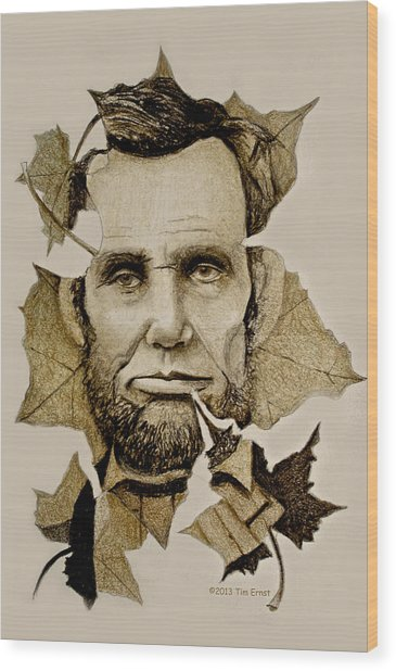 The Lincoln Leaf Wood Print