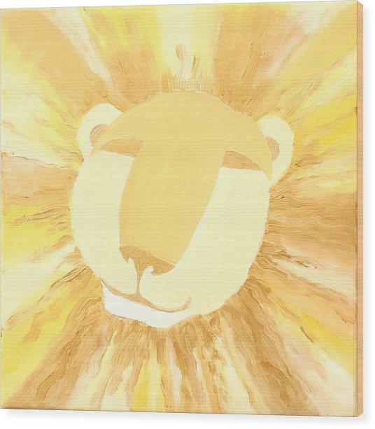 The Lion A Wood Print by Sandra Yegiazaryan