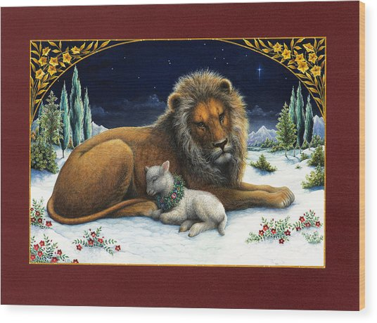 The Lion And The Lamb Wood Print