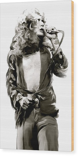 The Lion  Robert Plant Wood Print by Iconic Images Art Gallery David Pucciarelli