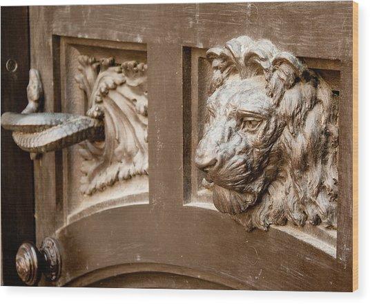 The Lion's Head Door Wood Print
